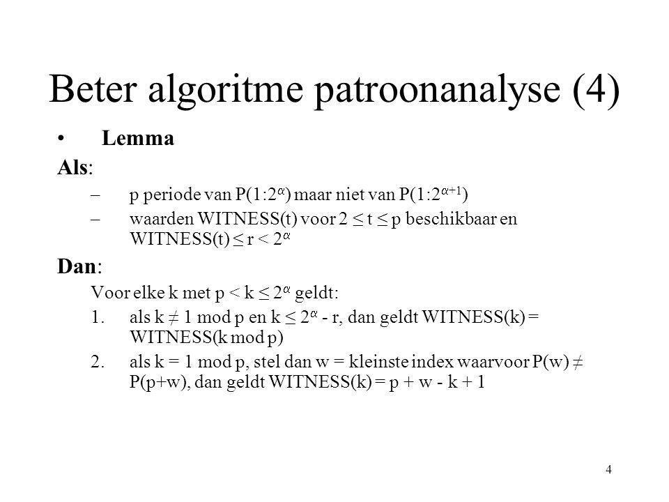 5 Beter algoritme patroonanalyse (5) Complexiteit: 1.WITNESS array initializeren: tijd: O(1) werk: O(m/2) = O(m) 2.WITNESS waarden berekenen: 1.WITNESS(kand.