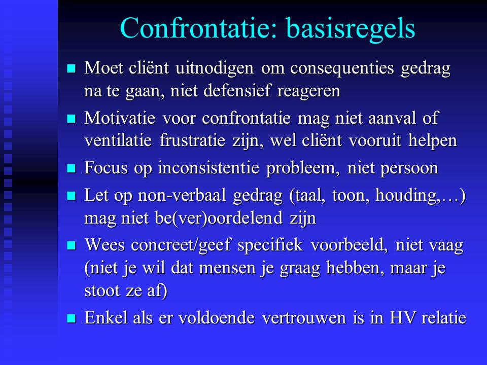 Confrontatie: basisregels n Moet cliënt uitnodigen om consequenties gedrag na te gaan, niet defensief reageren n Motivatie voor confrontatie mag niet