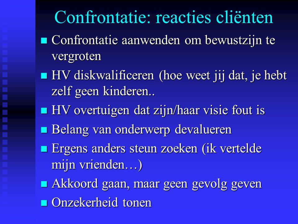 Confrontatie: reacties cliënten n Confrontatie aanwenden om bewustzijn te vergroten n HV diskwalificeren (hoe weet jij dat, je hebt zelf geen kinderen
