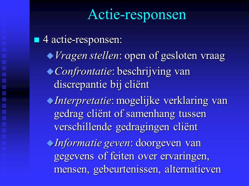 Actie-responsen n 4 actie-responsen: u Vragen stellen: open of gesloten vraag u Confrontatie: beschrijving van discrepantie bij cliënt u Interpretatie