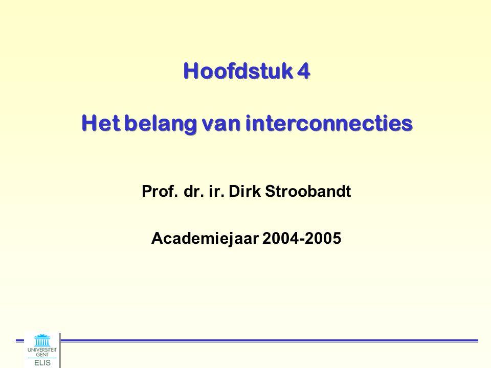 Hoofdstuk 4 Het belang van interconnecties Prof. dr. ir. Dirk Stroobandt Academiejaar 2004-2005
