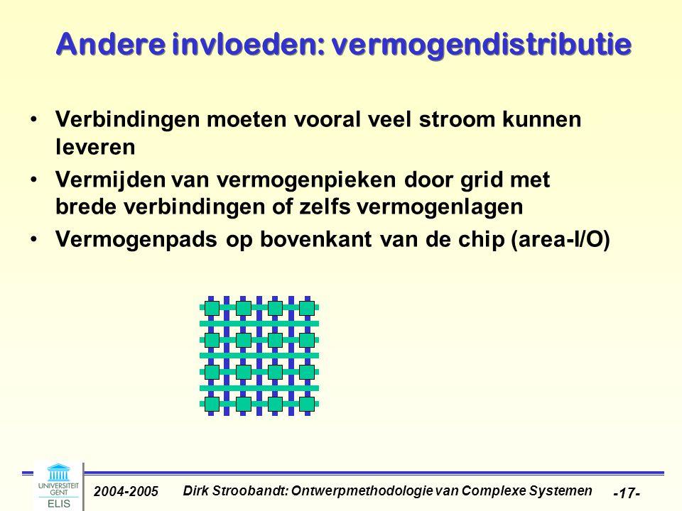 Dirk Stroobandt: Ontwerpmethodologie van Complexe Systemen 2004-2005 -17- Andere invloeden: vermogendistributie Verbindingen moeten vooral veel stroom kunnen leveren Vermijden van vermogenpieken door grid met brede verbindingen of zelfs vermogenlagen Vermogenpads op bovenkant van de chip (area-I/O)