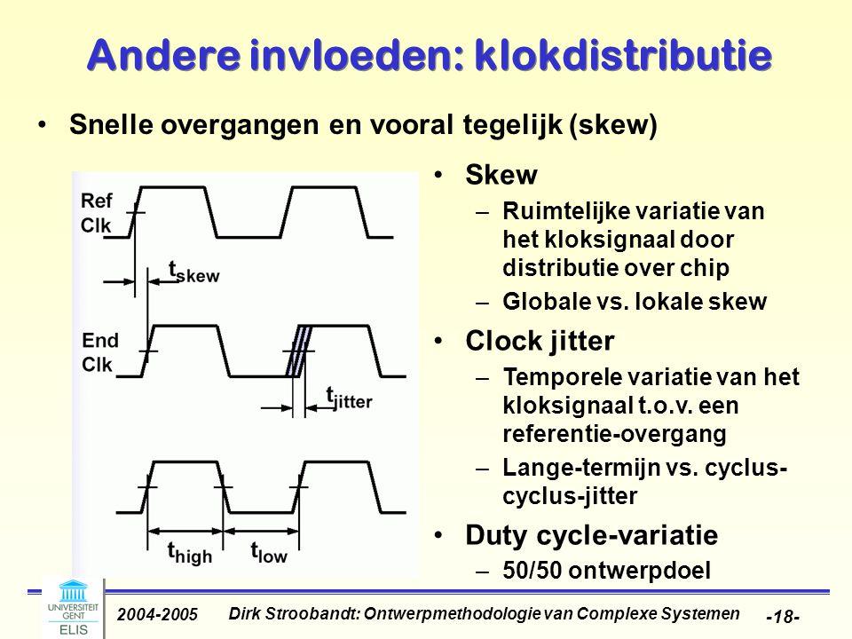 Dirk Stroobandt: Ontwerpmethodologie van Complexe Systemen 2004-2005 -18- Andere invloeden: klokdistributie Snelle overgangen en vooral tegelijk (skew) Skew –Ruimtelijke variatie van het kloksignaal door distributie over chip –Globale vs.