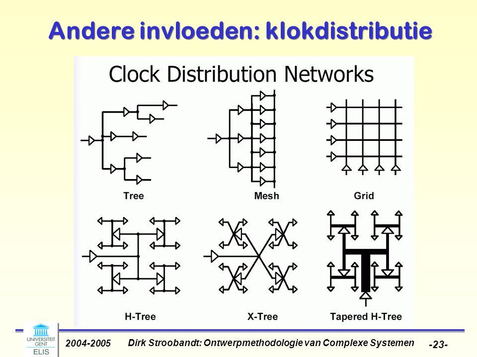 Dirk Stroobandt: Ontwerpmethodologie van Complexe Systemen 2004-2005 -23- Andere invloeden: klokdistributie