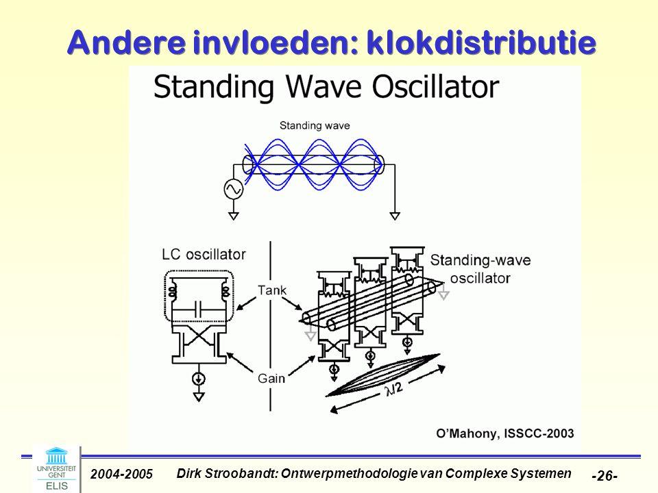 Dirk Stroobandt: Ontwerpmethodologie van Complexe Systemen 2004-2005 -26- Andere invloeden: klokdistributie