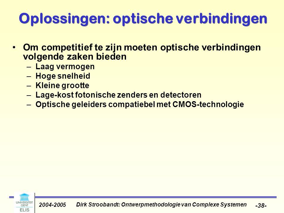 Dirk Stroobandt: Ontwerpmethodologie van Complexe Systemen 2004-2005 -38- Oplossingen: optische verbindingen Om competitief te zijn moeten optische verbindingen volgende zaken bieden –Laag vermogen –Hoge snelheid –Kleine grootte –Lage-kost fotonische zenders en detectoren –Optische geleiders compatiebel met CMOS-technologie