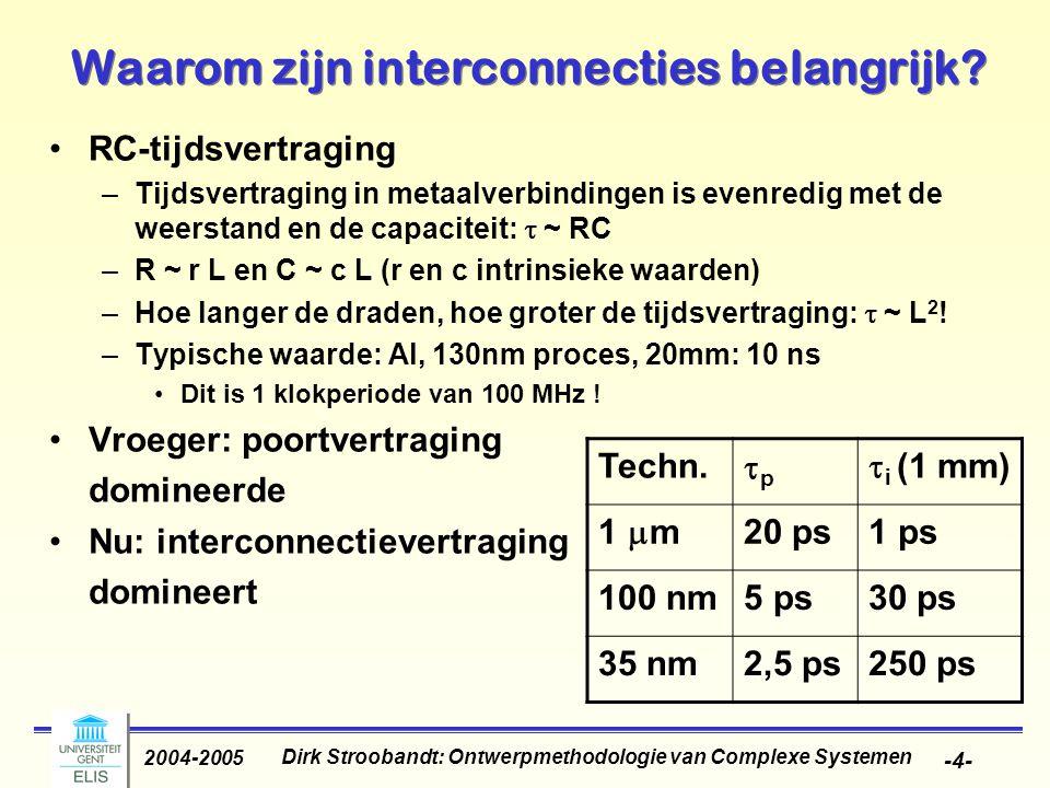 Dirk Stroobandt: Ontwerpmethodologie van Complexe Systemen 2004-2005 -4- Waarom zijn interconnecties belangrijk.