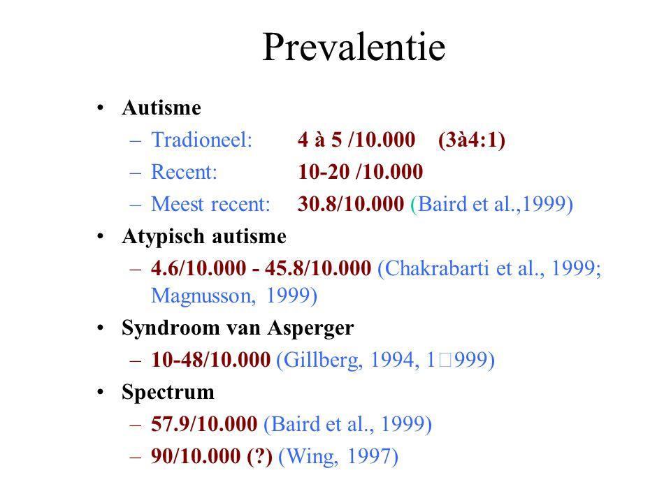 Etiologie Vanaf 1989 –Bevestiging genetische bevindingen (Steffenburg et al., 1989; Bailey et al., 1995) Concordantie MZ tweelingen: 69%-91%  Erfelijkheid van 90% Autisme bij siblings: 2-6 % (Fombonne, 1998) –Associatie autisme met diverse medische condities, maar weinig replicaties (Rutter, 1999) Tubereuze sclerose (Smalley, 1999) Tetrasomie chromosoom 15 (Cook et al., 1997) Fragiel X (Bailey et al., 1996)