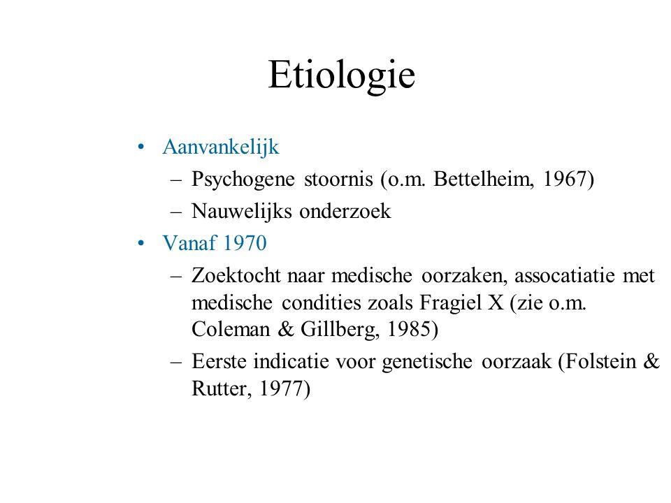Etiologie Aanvankelijk –Psychogene stoornis (o.m. Bettelheim, 1967) –Nauwelijks onderzoek Vanaf 1970 –Zoektocht naar medische oorzaken, assocatiatie m