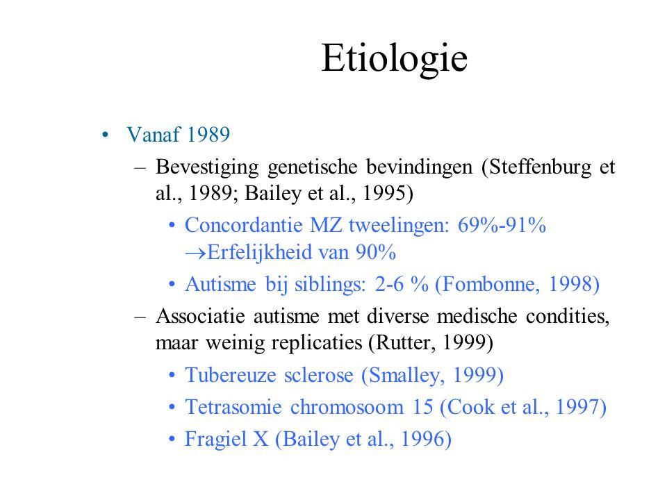 Etiologie Vanaf 1989 –Bevestiging genetische bevindingen (Steffenburg et al., 1989; Bailey et al., 1995) Concordantie MZ tweelingen: 69%-91%  Erfelij