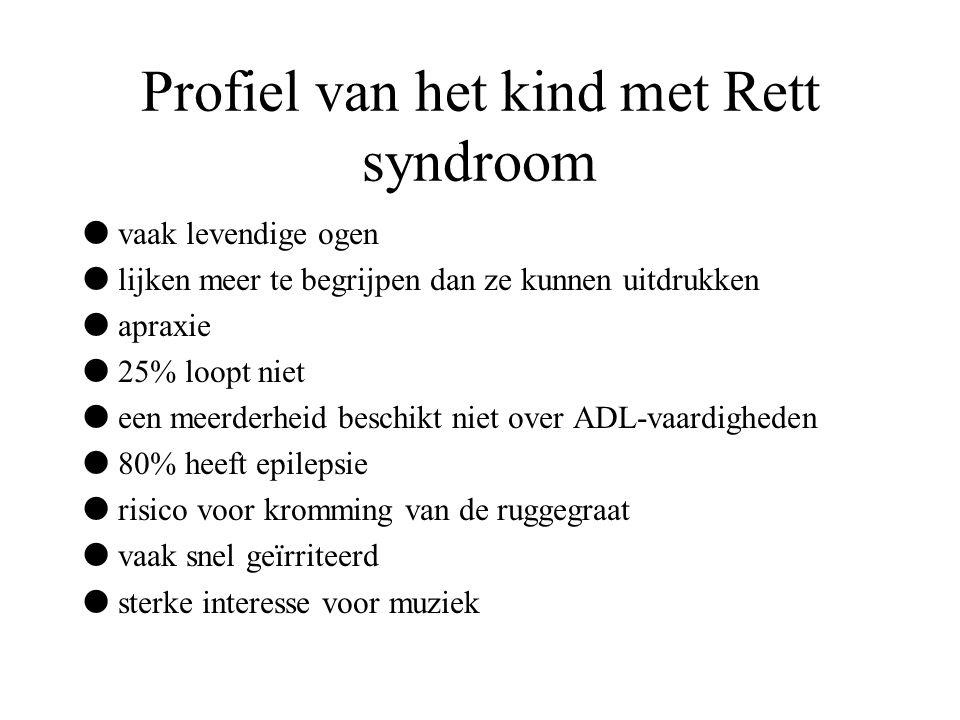 Profiel van het kind met Rett syndroom  vaak levendige ogen  lijken meer te begrijpen dan ze kunnen uitdrukken  apraxie  25% loopt niet  een meer