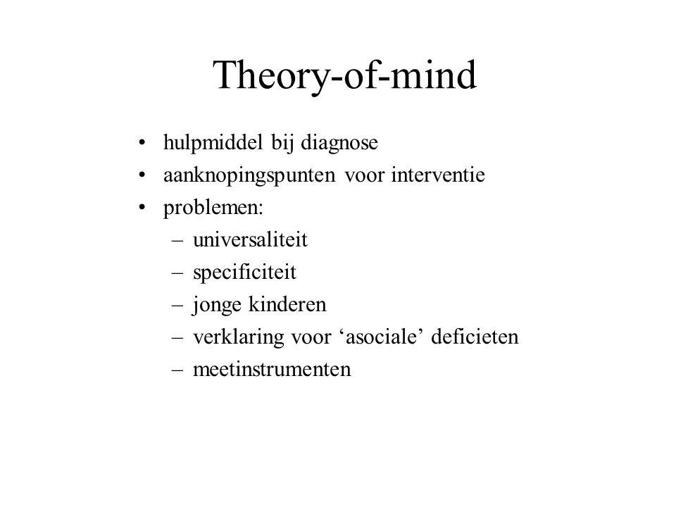 Theory-of-mind hulpmiddel bij diagnose aanknopingspunten voor interventie problemen: –universaliteit –specificiteit –jonge kinderen –verklaring voor '