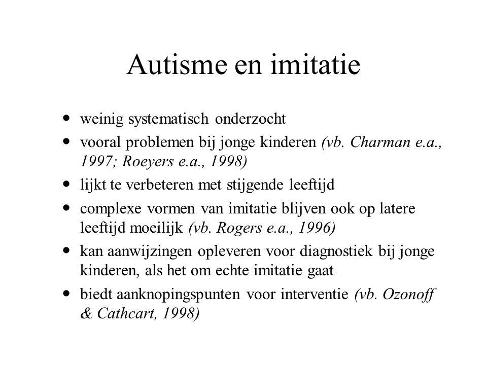 Autisme en imitatie weinig systematisch onderzocht vooral problemen bij jonge kinderen (vb. Charman e.a., 1997; Roeyers e.a., 1998) lijkt te verbetere