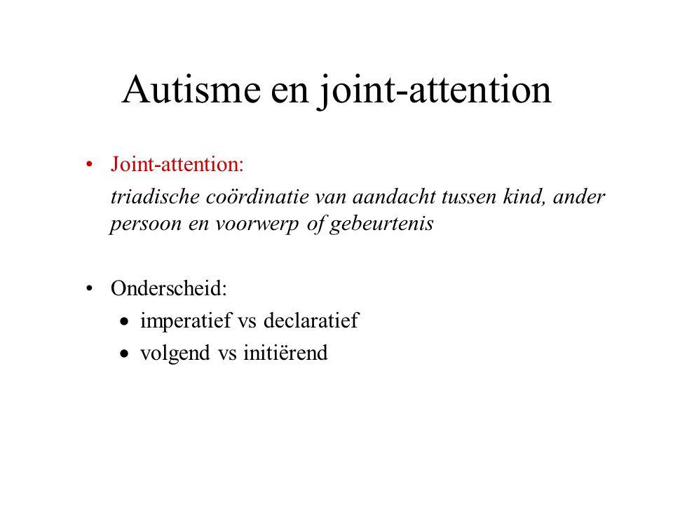 Autisme en joint-attention Joint-attention: triadische coördinatie van aandacht tussen kind, ander persoon en voorwerp of gebeurtenis Onderscheid:  i