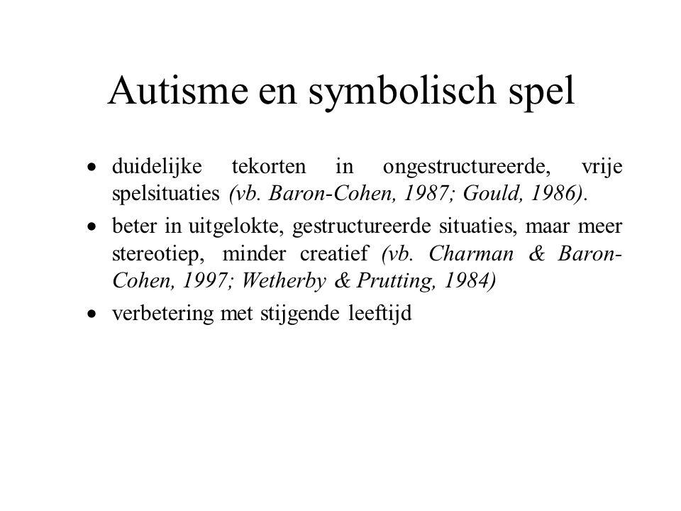 Autisme en symbolisch spel  duidelijke tekorten in ongestructureerde, vrije spelsituaties (vb. Baron-Cohen, 1987; Gould, 1986).  beter in uitgelokte