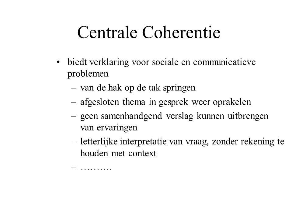 Centrale Coherentie biedt verklaring voor sociale en communicatieve problemen –van de hak op de tak springen –afgesloten thema in gesprek weer oprakel