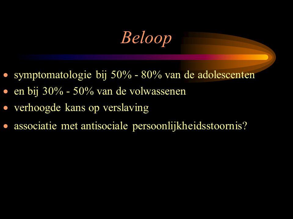 Beloop  symptomatologie bij 50% - 80% van de adolescenten  en bij 30% - 50% van de volwassenen  verhoogde kans op verslaving  associatie met antis