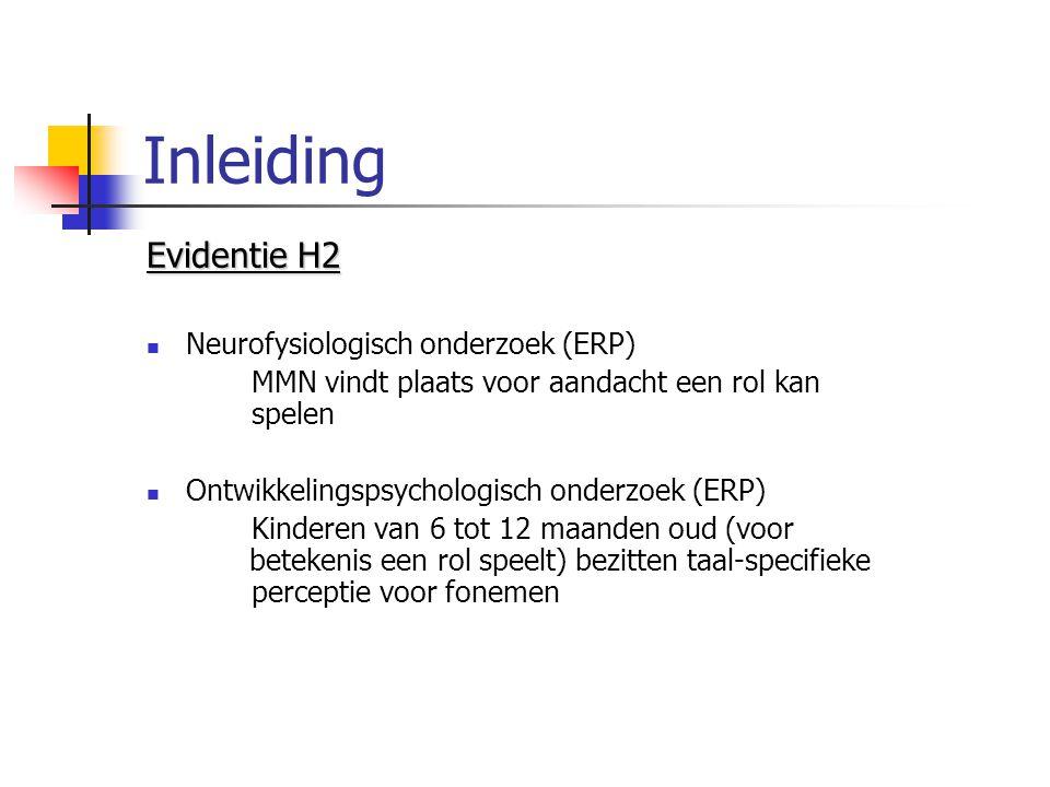Inleiding Evidentie H2 Neurofysiologisch onderzoek (ERP) MMN vindt plaats voor aandacht een rol kan spelen Ontwikkelingspsychologisch onderzoek (ERP)
