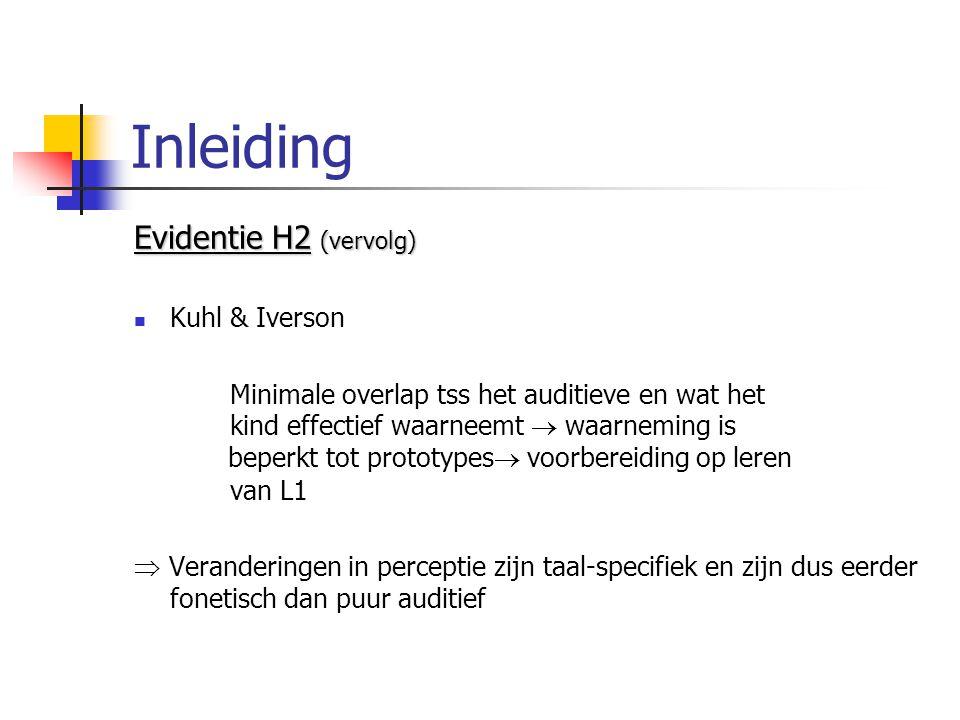 Inleiding Evidentie H2 (vervolg) Kuhl & Iverson Minimale overlap tss het auditieve en wat het kind effectief waarneemt  waarneming is beperkt tot prototypes  voorbereiding op leren van L1  Veranderingen in perceptie zijn taal-specifiek en zijn dus eerder fonetisch dan puur auditief