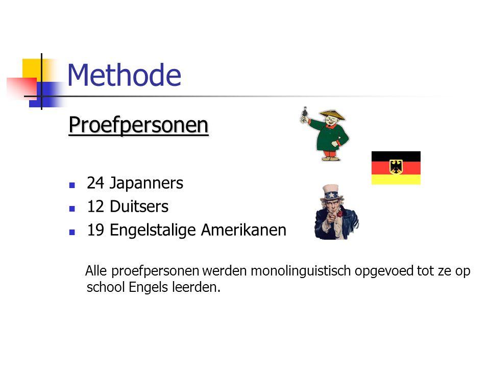 Methode Proefpersonen 24 Japanners 12 Duitsers 19 Engelstalige Amerikanen Alle proefpersonen werden monolinguistisch opgevoed tot ze op school Engels leerden.