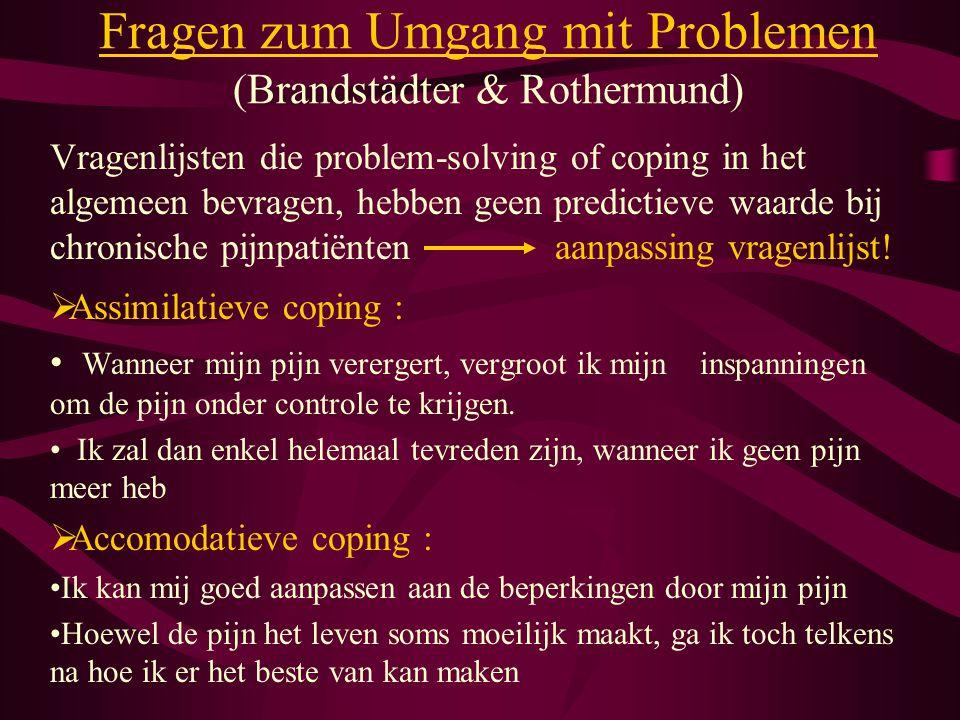 Fragen zum Umgang mit Problemen (Brandstädter & Rothermund) Vragenlijsten die problem-solving of coping in het algemeen bevragen, hebben geen predicti