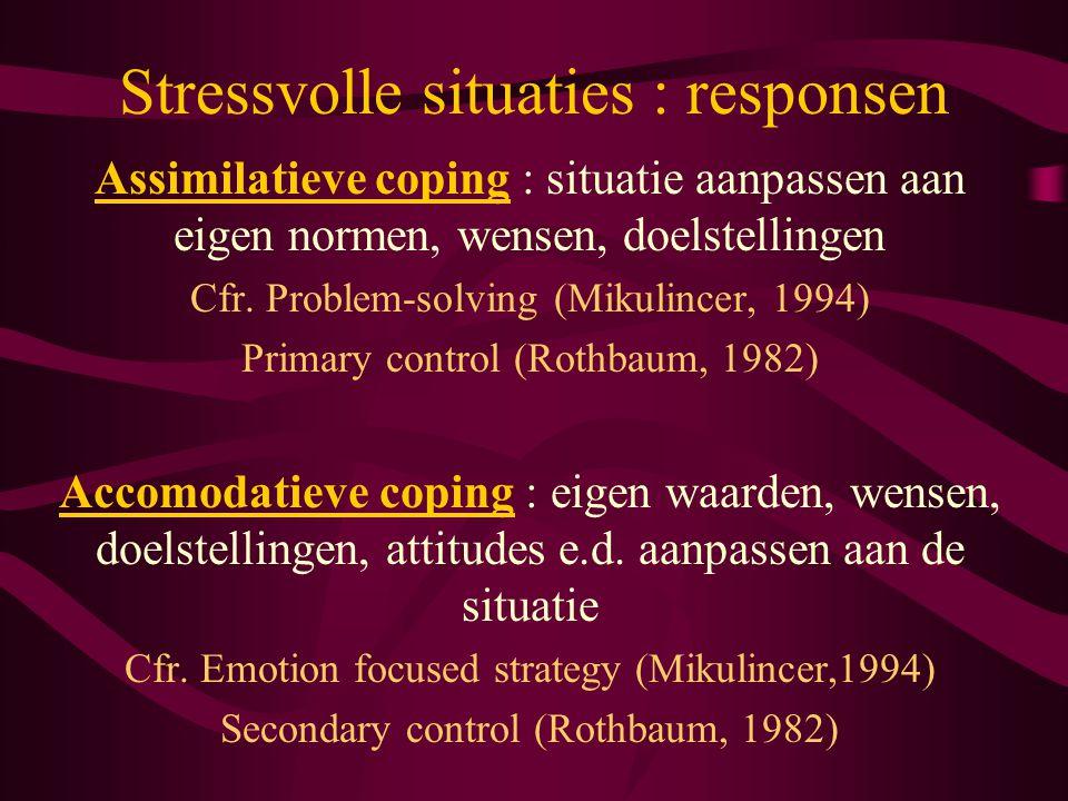 Stressvolle situaties : responsen Assimilatieve coping : situatie aanpassen aan eigen normen, wensen, doelstellingen Cfr. Problem-solving (Mikulincer,