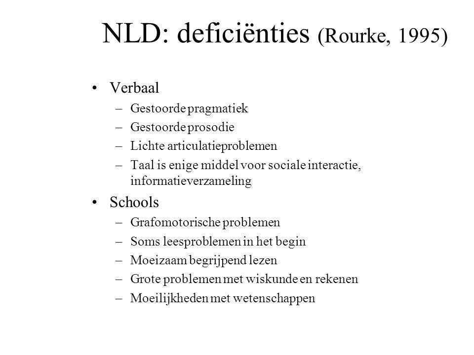 NLD: deficiënties (Rourke, 1995) Primair neuropsychologisch –Tactiel-perceptuele problemen –Visuele perceptie problemen –Psychomotorische problemen –P