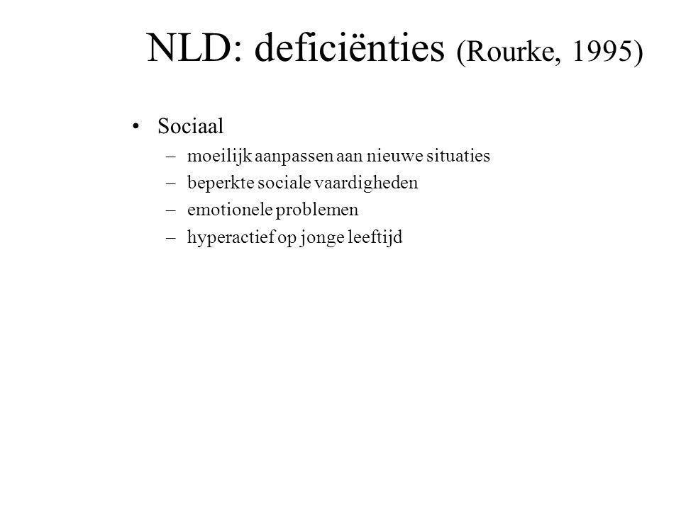 NLD: deficiënties (Rourke, 1995) Verbaal –Gestoorde pragmatiek –Gestoorde prosodie –Lichte articulatieproblemen –Taal is enige middel voor sociale int