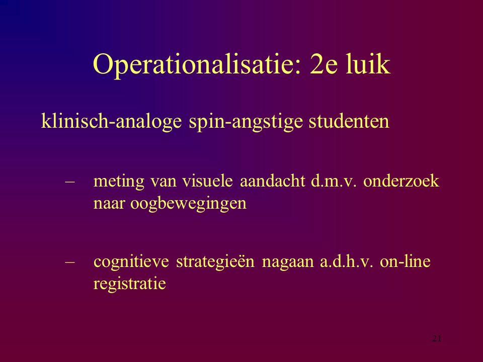 21 Operationalisatie: 2e luik klinisch-analoge spin-angstige studenten –meting van visuele aandacht d.m.v. onderzoek naar oogbewegingen –cognitieve st