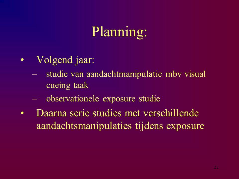 22 Planning: Volgend jaar: –studie van aandachtmanipulatie mbv visual cueing taak –observationele exposure studie Daarna serie studies met verschillen