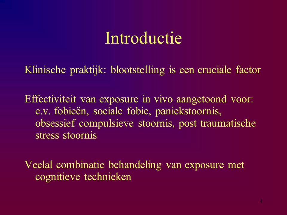 4 Introductie Klinische praktijk: blootstelling is een cruciale factor Effectiviteit van exposure in vivo aangetoond voor: e.v. fobieën, sociale fobie