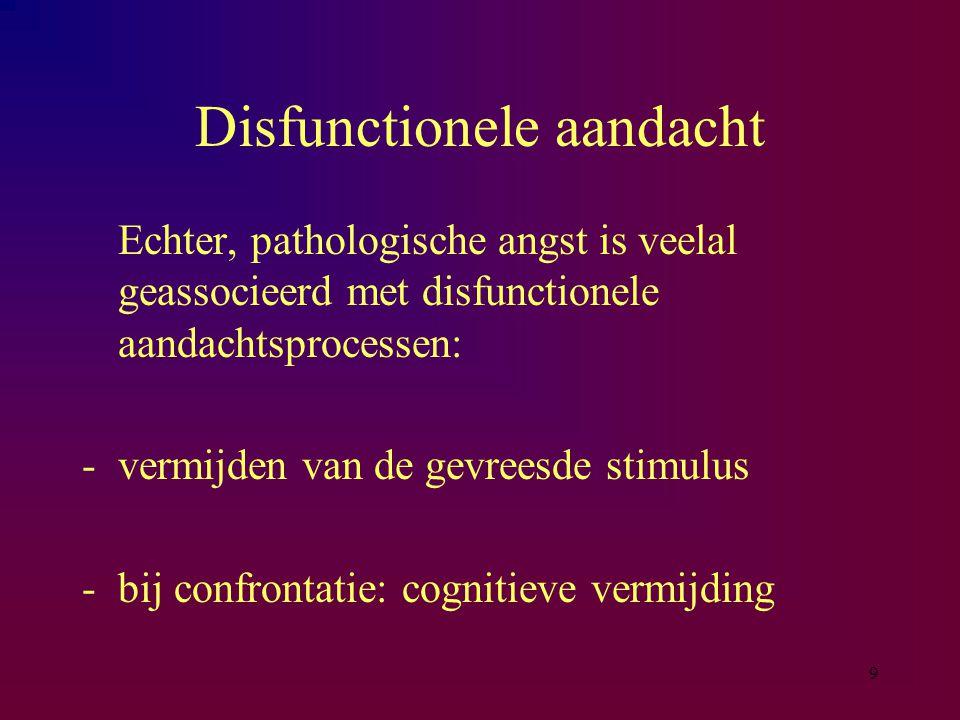 9 Disfunctionele aandacht Echter, pathologische angst is veelal geassocieerd met disfunctionele aandachtsprocessen: -vermijden van de gevreesde stimulus -bij confrontatie: cognitieve vermijding