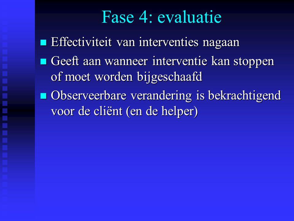 Fase 4: evaluatie n Effectiviteit van interventies nagaan n Geeft aan wanneer interventie kan stoppen of moet worden bijgeschaafd n Observeerbare verandering is bekrachtigend voor de cliënt (en de helper)