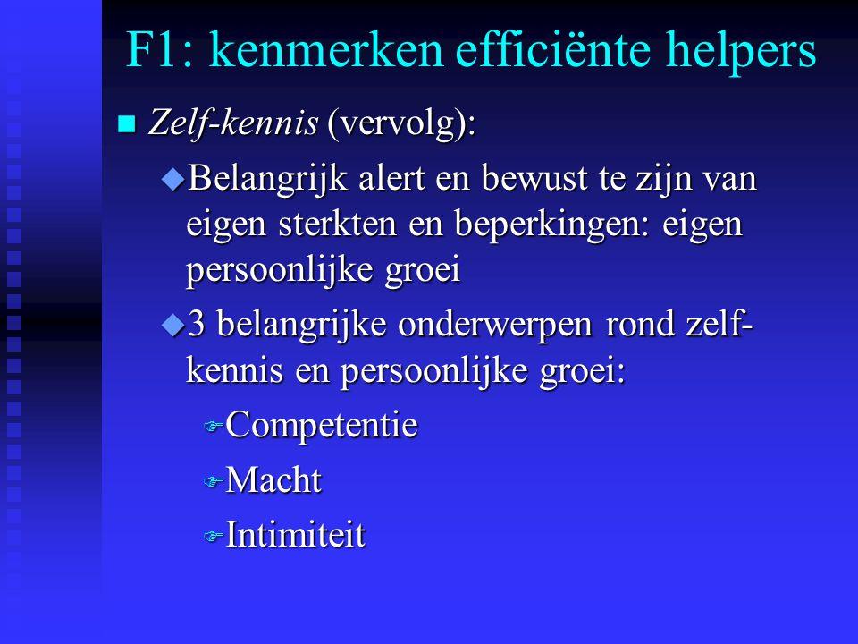 F1: kenmerken efficiënte helpers n Zelf-kennis (vervolg): u Belangrijk alert en bewust te zijn van eigen sterkten en beperkingen: eigen persoonlijke g