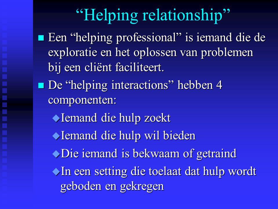 Helping relationship n Een helping professional is iemand die de exploratie en het oplossen van problemen bij een cliënt faciliteert.