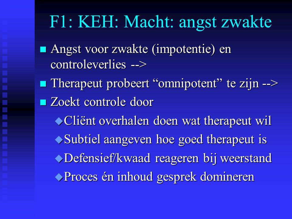 """F1: KEH: Macht: angst zwakte n Angst voor zwakte (impotentie) en controleverlies --> n Therapeut probeert """"omnipotent"""" te zijn --> n Zoekt controle do"""