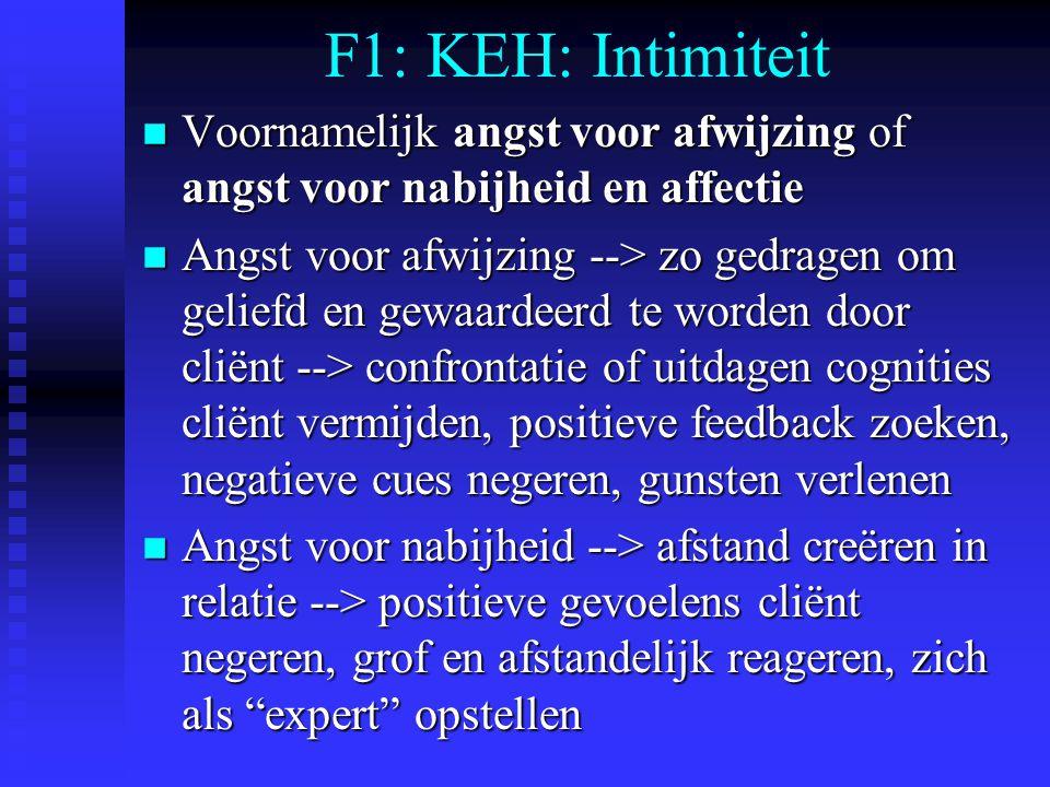 F1: KEH: Intimiteit n Voornamelijk angst voor afwijzing of angst voor nabijheid en affectie n Angst voor afwijzing --> zo gedragen om geliefd en gewaardeerd te worden door cliënt --> confrontatie of uitdagen cognities cliënt vermijden, positieve feedback zoeken, negatieve cues negeren, gunsten verlenen n Angst voor nabijheid --> afstand creëren in relatie --> positieve gevoelens cliënt negeren, grof en afstandelijk reageren, zich als expert opstellen
