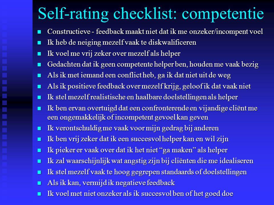 Self-rating checklist: competentie n Constructieve - feedback maakt niet dat ik me onzeker/incompent voel n Ik heb de neiging mezelf vaak te diskwalificeren n Ik voel me vrij zeker over mezelf als helper n Gedachten dat ik geen competente helper ben, houden me vaak bezig n Als ik met iemand een conflict heb, ga ik dat niet uit de weg n Als ik positieve feedback over mezelf krijg, geloof ik dat vaak niet n Ik stel mezelf realistische en haalbare doelstellingen als helper n Ik ben ervan overtuigd dat een confronterende en vijandige cliënt me een ongemakkelijk of incompetent gevoel kan geven n Ik verontschuldig me vaak voor mijn gedrag bij anderen n Ik ben vrij zeker dat ik een succesvol helper kan en wil zijn n Ik pieker er vaak over dat ik het niet ga maken als helper n Ik zal waarschijnlijk wat angstig zijn bij cliënten die me idealiseren n Ik stel mezelf vaak te hoog gegrepen standaards of doelstellingen n Als ik kan, vermijd ik negatieve feedback n Ik voel met niet onzeker als ik succesvol ben of het goed doe