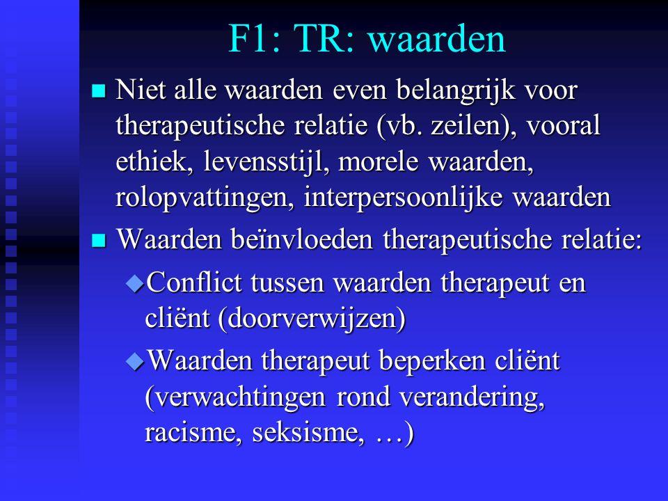 F1: TR: waarden n Niet alle waarden even belangrijk voor therapeutische relatie (vb. zeilen), vooral ethiek, levensstijl, morele waarden, rolopvatting