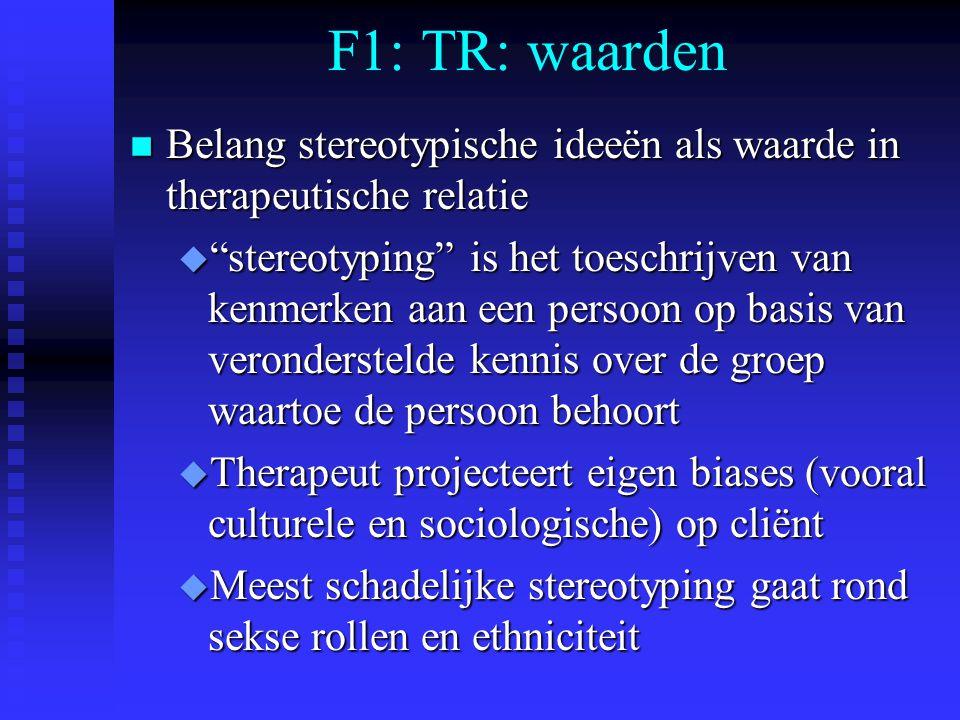 """F1: TR: waarden n Belang stereotypische ideeën als waarde in therapeutische relatie u """"stereotyping"""" is het toeschrijven van kenmerken aan een persoon"""