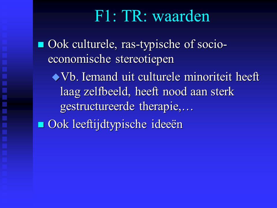 F1: TR: waarden n Ook culturele, ras-typische of socio- economische stereotiepen u Vb. Iemand uit culturele minoriteit heeft laag zelfbeeld, heeft noo