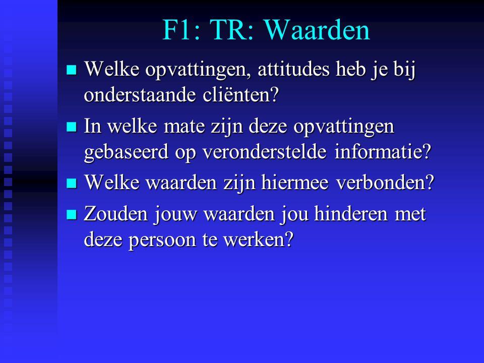 F1: TR: Waarden n Welke opvattingen, attitudes heb je bij onderstaande cliënten? n In welke mate zijn deze opvattingen gebaseerd op veronderstelde inf