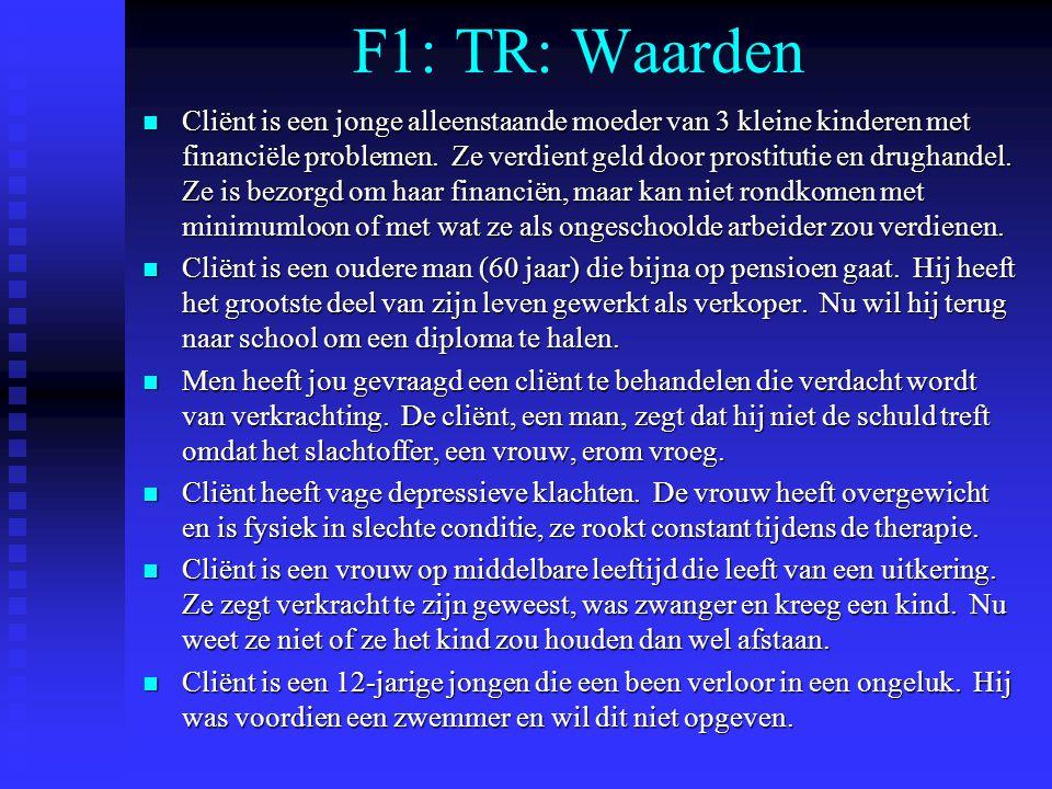 F1: TR: Waarden n Cliënt is een jonge alleenstaande moeder van 3 kleine kinderen met financiële problemen. Ze verdient geld door prostitutie en drugha