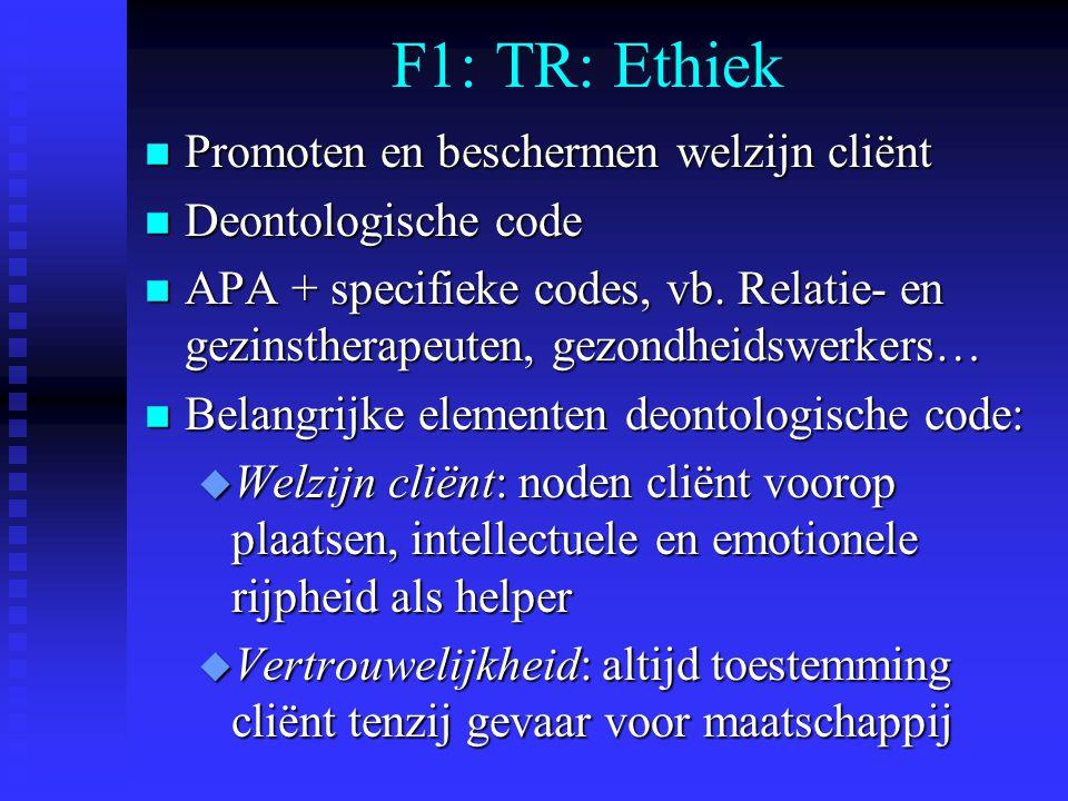 F1: TR: Ethiek n Promoten en beschermen welzijn cliënt n Deontologische code n APA + specifieke codes, vb. Relatie- en gezinstherapeuten, gezondheidsw