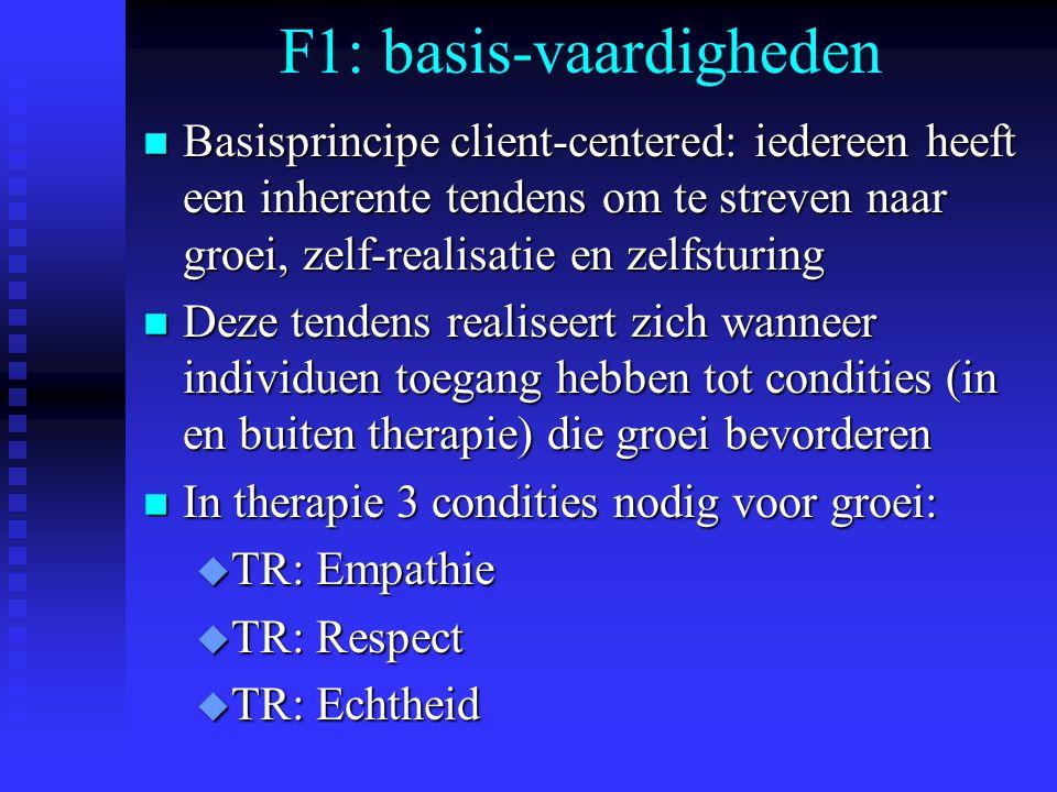 F1: basis-vaardigheden n Basisprincipe client-centered: iedereen heeft een inherente tendens om te streven naar groei, zelf-realisatie en zelfsturing n Deze tendens realiseert zich wanneer individuen toegang hebben tot condities (in en buiten therapie) die groei bevorderen n In therapie 3 condities nodig voor groei: u TR: Empathie u TR: Respect u TR: Echtheid