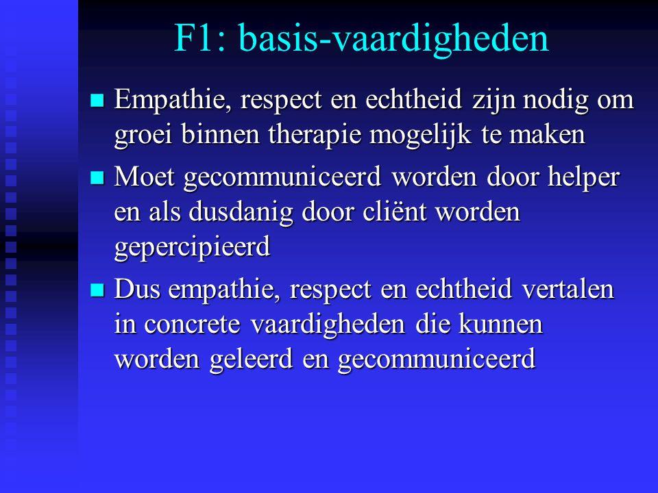 F1: basis-vaardigheden n Empathie, respect en echtheid zijn nodig om groei binnen therapie mogelijk te maken n Moet gecommuniceerd worden door helper