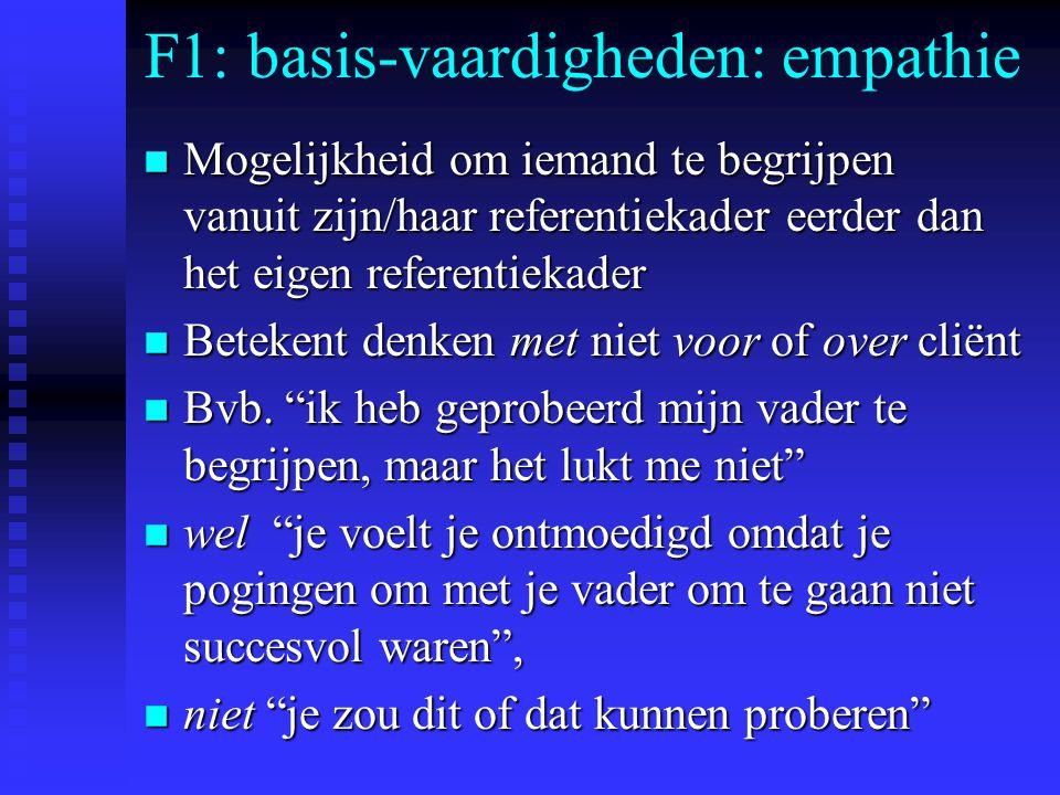 F1: basis-vaardigheden: empathie n Mogelijkheid om iemand te begrijpen vanuit zijn/haar referentiekader eerder dan het eigen referentiekader n Betekent denken met niet voor of over cliënt n Bvb.