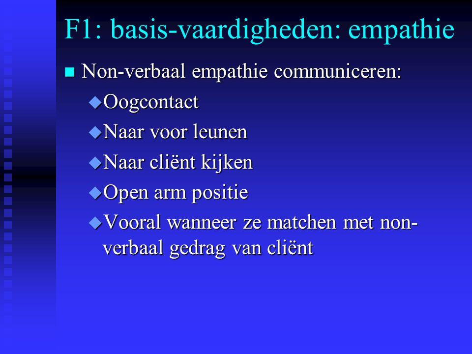F1: basis-vaardigheden: empathie n Non-verbaal empathie communiceren: u Oogcontact u Naar voor leunen u Naar cliënt kijken u Open arm positie u Vooral wanneer ze matchen met non- verbaal gedrag van cliënt