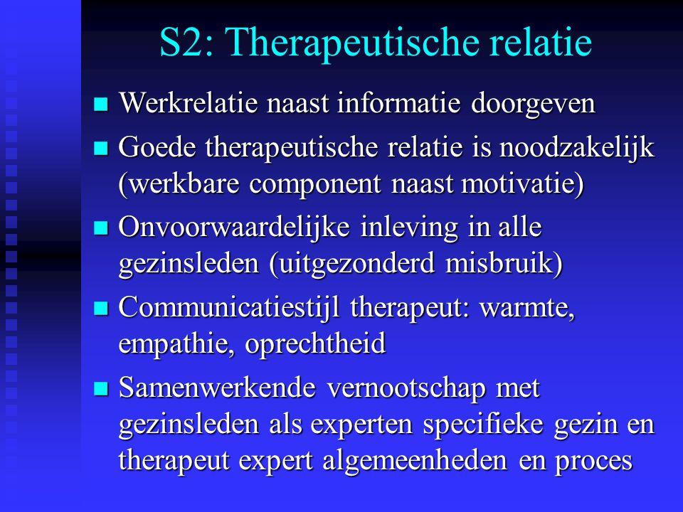 S2: Therapeutische relatie n Werkrelatie naast informatie doorgeven n Goede therapeutische relatie is noodzakelijk (werkbare component naast motivatie