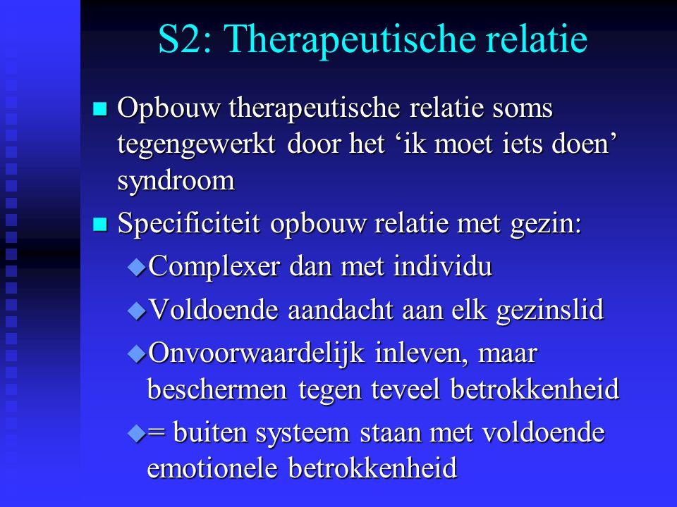 S2: Therapeutische relatie n Opbouw therapeutische relatie soms tegengewerkt door het 'ik moet iets doen' syndroom n Specificiteit opbouw relatie met
